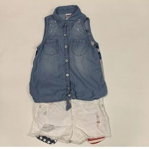 Justice Girls Button Down Top & Short Outfit